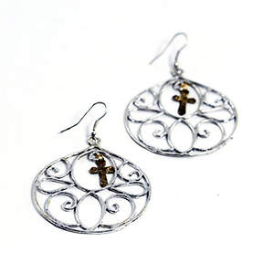 India Christian Earrings - Swirl Silver and Gold-tone