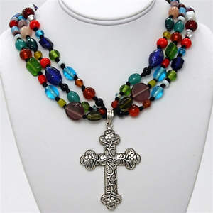 India Christian Beaded Necklace - 3-strand with Large Cross