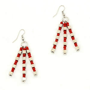 Java Dangle Bead Earrings - Red