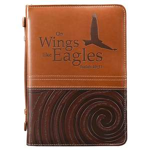 LuxLeather Isaiah 40:31 Large Brown and Tan Bible Cover
