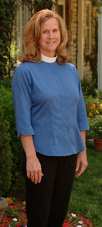 Three-Quarter Length Sleeve Clergy Blouse with Neckband Collar