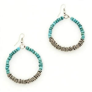 Java Bead and Metal Hoop Earrings - Turquoise