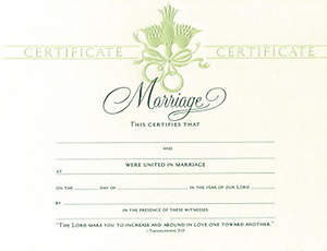 Certificate Marriage Embossed Package of 6