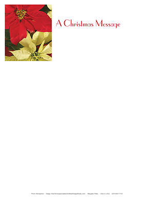 Christmas Music and Christmas Poinsettia Letterhead 2015 (Package of 50)