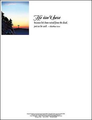 He Isn't Here Easter Sunrise Letterhead 2015 (Package of 50)