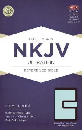 NKJV Ultrathin Reference Bible, Brown/Blue Leathertouch with Magnetic Flap