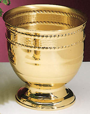 Brass Round Base 10 1/4 X 10 1/2 Vase, with liner