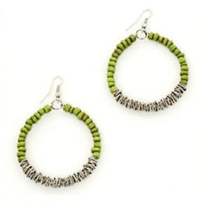 Java Bead and Metal Hoop Earrings - Lime