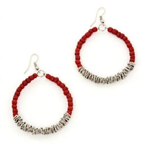 Java Bead and Metal Hoop Earrings - Red