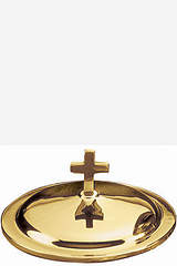 Contemporary Solid Brass Baptismal Bowl Cover with Latin Cross Finial