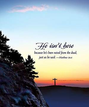 He Isn't Here Easter Sunrise Bulletin 2015, Large (Package of 50)
