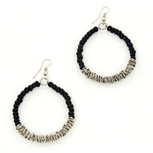 Java Bead and Metal Hoop Earrings - Black