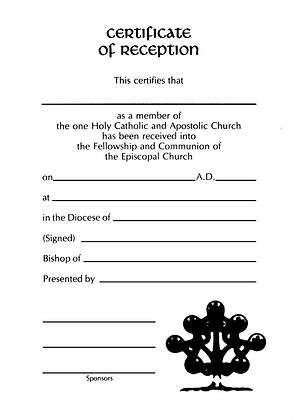 Embossed Reception Certificate #8156 [Pack of 12]