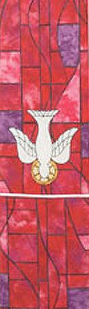 Symbols of Faith Series Stained Glass Descending Dove Stole Red - Regular