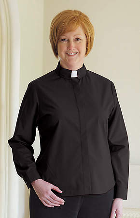 Basic Long Sleeve Clergy Blouse with Tab Collar