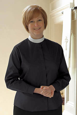 Basic Long Sleeve Clergy Blouse with Neckband Collar