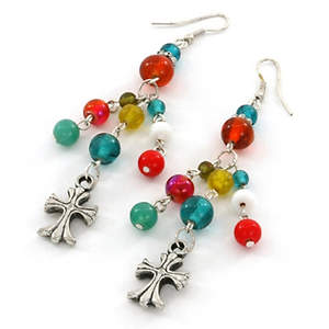 India Beaded Christian Earrings - Crosses Silver-tone
