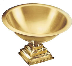 Contemporary Large Solid Brass Baptismal Bowl with Square Base