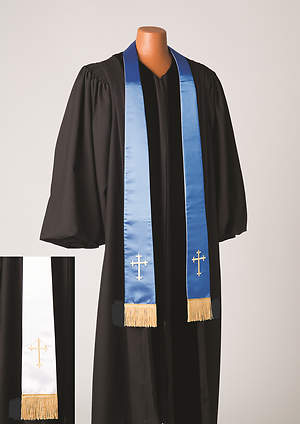 Satin Reversible Blue/White Latin Cross Stole