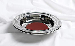 Silver Offering Plate with Red Felt