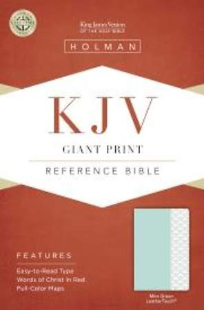 KJV Giant Print Reference Bible, Mint Green Leathertouch