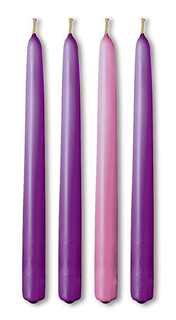 Advent Candle Taper 15`` x 1 1/8``, 3 Purple, 1 Rose