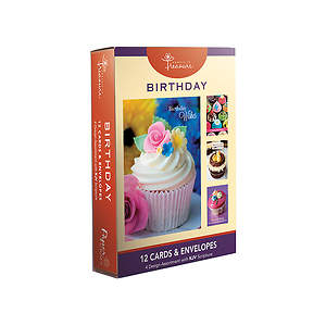 Birthday Boxed Cards-Cupcake Designs Pack of 12