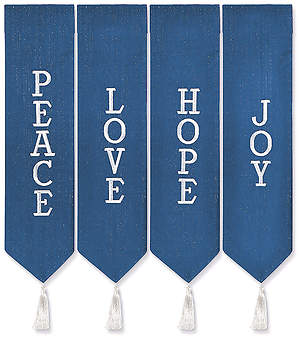 ADVENT WREATH BANNERS BLUE WITH WHITE THREAD