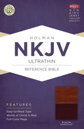 NKJV Ultrathin Reference Bible, Brown/Tan Leathertouch