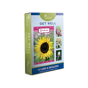 Get Well Boxed Cards-Floral Designs Pack of 12