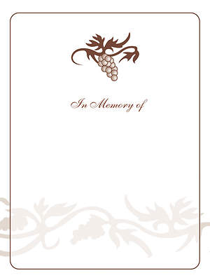 Grape Cluster Bookplate - In Memory Of [Pack of 15]