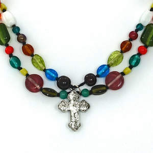 India Christian Beaded Necklace - 2-strand with Small Cross