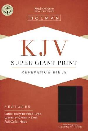 KJV Super Giant Print Reference Bible, Black/Burgundy Leathertouch Indexed