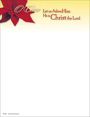 Christmas O Come Let Us Adore Him Letterhead (Package of 100)