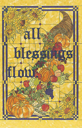 Stained Glass All Blessings Flow Thanksgiving Banner 3` X 4`8""