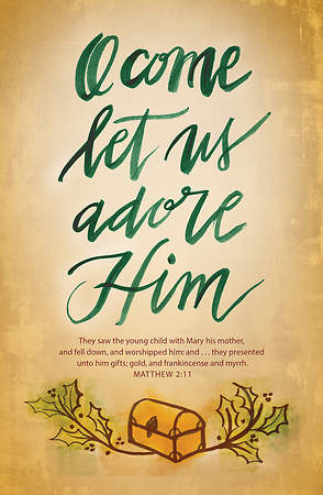 Christmas Bulletin - Matthew 2:11 O Come Let Us Adore Him (Pack of 100)