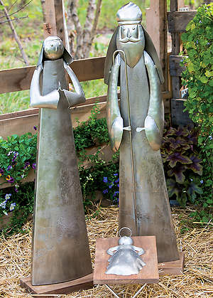 Handcrafted Artisan Metal Nativity (Mary, Joseph, and Baby Jesus)