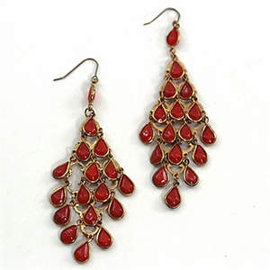India Chandelier Earrings - Red