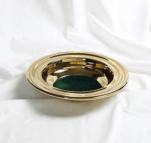Brass Offering Plate with Green Felt