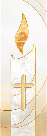 3X9 Advent Banner CROSS WHITE
