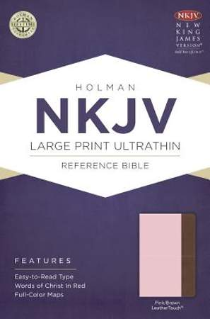 NKJV Large Print Ultrathin Reference Bible, Pink/Brown Leathertouch
