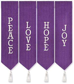 ADVENT WREATH BANNERS PURPLE WITH WHITE THREAD