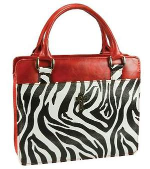 Safari Collection Zebra Print Vinyl Medium Red Bible Cover