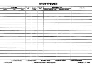 Record of Deaths (Package of 50)