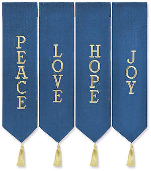 ADVENT WREATH BANNERS BLUE WITH GOLD THREAD