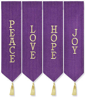 ADVENT WREATH BANNERS PURPLE WITH GOLD THREAD