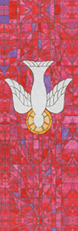 Symbols of Faith Series Stained Glass Descending Dove Banner 2` X 6`