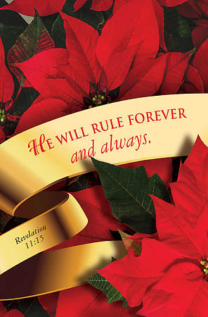 He Will Rule Forever Christmas Poinsettia Bulletin 2015, Regular (Package of 50)