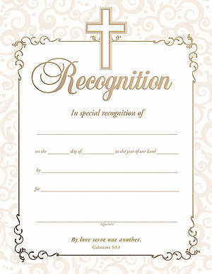 Recognition Certificate Gold Foil Embossed (Package of 6)
