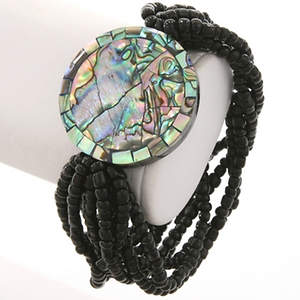 Java Beaded Bracelet - Stretchy  Round Abalone